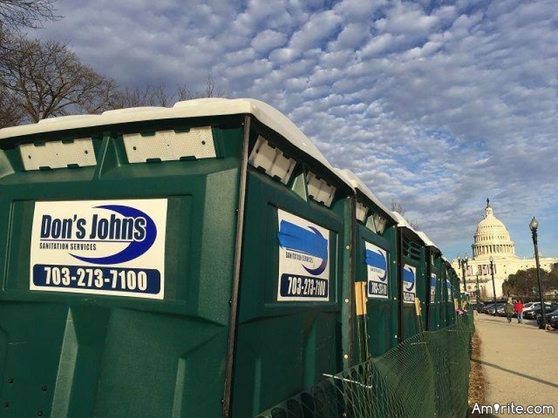 DON'S JOHNS:   PORTA-POTTY COMPANY IS UNHAPPY  The owner of Don's Johns sanitation service is not thrilled with inauguration event planners who put blue tape over his logo on portable toilets at the sight of the inauguration. Some believe it was done because it connects Donald John Trump's name to using the toilet. But a statement from Architect of the Capitol says it was simply because the advertising is not compliant with Capitol Grounds restrictions on advertising. The owner said the company would be removing the cover tape.
