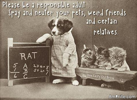 🐶 Please be a responsible adult...Spay and neuter your pets, some friends, and certain relatives. Amirite? 🐶