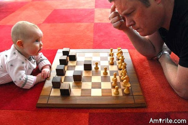 When you play a board game that you are damn good at and usually win you find it difficult to throw a game to allow a child to beat you.