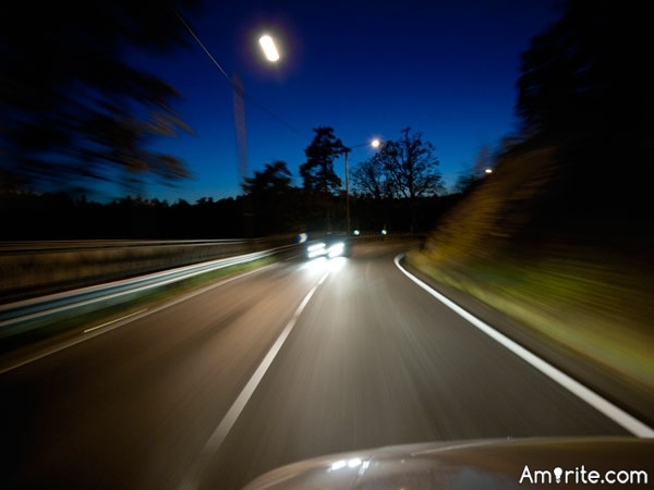 Driving at night isn't so hard. Unless you're tired.