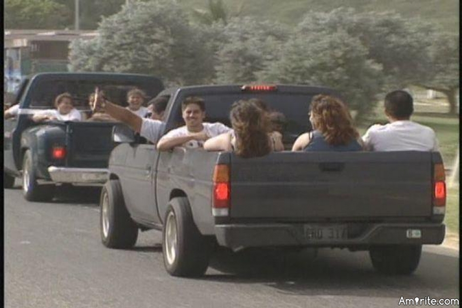 People with pickup trucks have loads of friends.