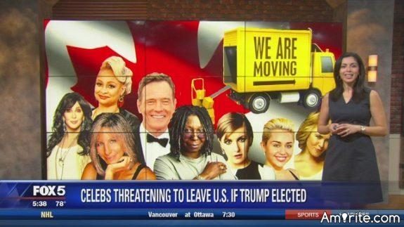After 100 days, how many of those celebrities, who we all know, TRUST, and love, have moved out of America, as they had promised, if Trump won?