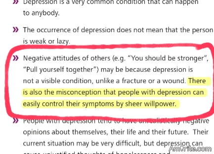 This year's World Health Day Theme was: Depression. Let's Talk. People with depression should be encouraged to talk about their problems. The image is from mhGAP 2.0, and it tries to make a point: That depression can't be overcome by sheer willpower.
