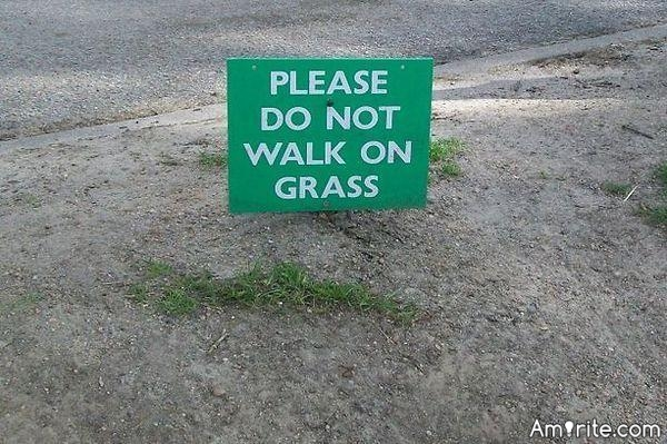 """If you can't walk on the grass how do all the """"don't step on the grass"""" signs get put up🙄"""
