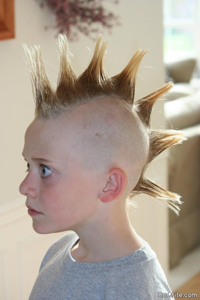 Once Mohawks meant you were a tough punk rocker? Now they just mean that you're 3 and your parents are idiots.