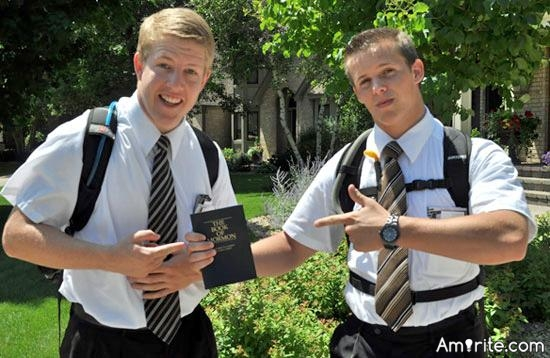 I just was paid a visit by a couple of Jehovah's Witnesses. They didn't even pay me, stupid silly sods.