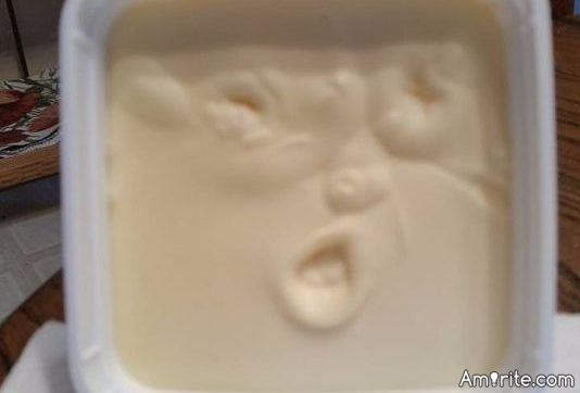 I have heard of seeing Jesus in your toast but Trump in your butter?  Now that's going too far.  <strong>Amirite?</strong>