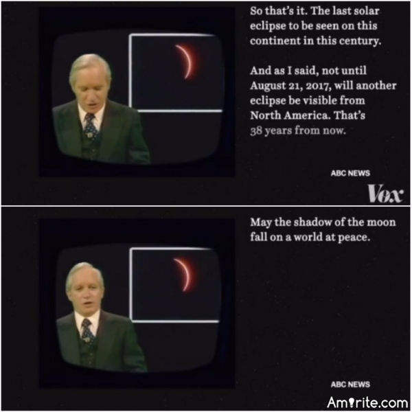 News caster from the last time the solar eclipse was visible from America.