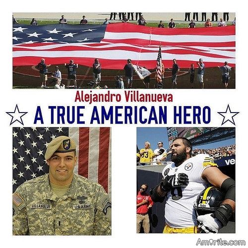 This is very upsetting because I have loved football and the Pittsburgh Steelers for as long as I can remember. On Sunday, 9/24/17, the Steelers left Alejandro Villanueva as the only Steeler on the field with his hand on his heart. I hereby boycott football until politics are removed from it. The NFL is shameful and no longer worth my time. God bless our men and women in the United States military.