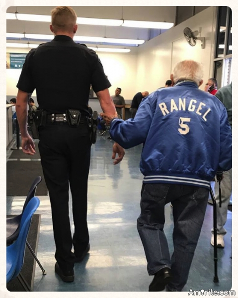 Bank Tells Elderly Man He Has To Leave, Cop Brings Him Back To Get The Job Done.
