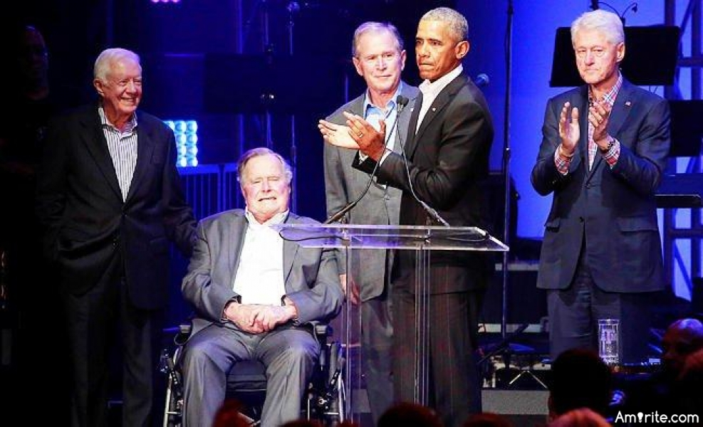 What a great thing seeing five of our former presidents, all getting along, taking time out of their busy schedules to work for the American people to help the hurricane victims.   I didn't always agree with all five of them but they were presidential and worked for the American people.   That's what will make America Great Again!!!!   <strong>Amirite?</strong>