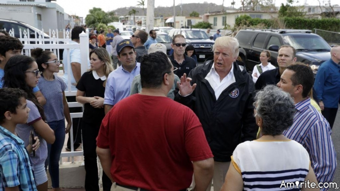 """President """"CHUMP"""" signed $1 BILLION dollars in Federal Aid to Puerto Rico, and donated a million dollars of his own money. THAT ****!! What did YOU do for Puerto Rico??"""