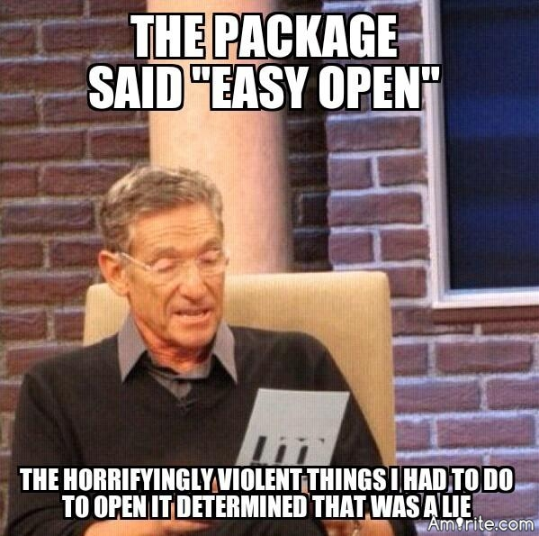 """Well after using a pair for scissors, a Ginsu knife, a small gun, and light saber...I finally got to the cookies in the """"Easy to Open"""" package🙄"""