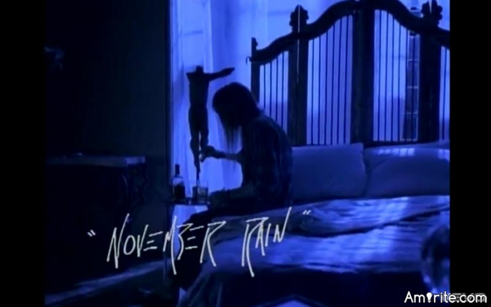 It's early in the month and NOVEMBER RAIN hasn't disappointed us. neither has the song. Post songs about rain or rainy days.