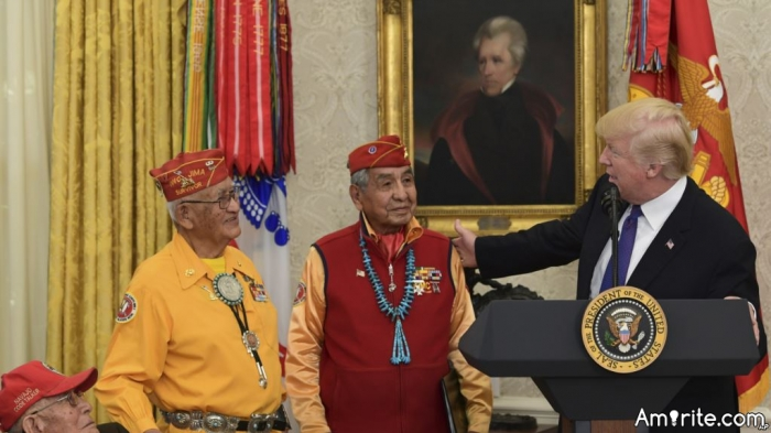 Why would the White House honor Native American code talkers in front of a portrait of Andrew Jackson?