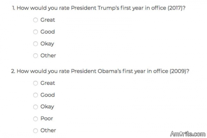 The first 2 questions from Trump's official poll released today... notice the difference? Just goes to show how him and his supporters pathetically have to distort data just to feel better about themselves.