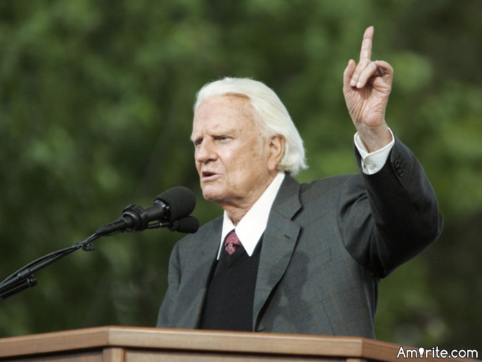 Rest in peace Billy Graham.   Reverend Graham went to be with the Lord at the age of 99.   A great preacher, one of the best human beings that ever walked on this earth.  Never a scandal, loved everyone....a great person.  He was a blessing to everyone.   He will be missed.