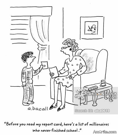 A Justification for Poor School Performance?      <b>*     Dad: Why is your January report card so bad ?      Son: Well, you know how it is. Things are always marked down after Christmas !     </b>*     Link: https://www.free-funny-jokes.com/funny-parent-jokes.html