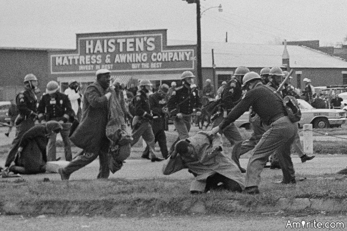On March 7, 1965 around 600 people crossed the Edmund Pettus Bridge from Selma to Montgomery. State troopers violently attacked the peaceful demonstrators in an attempt to stop the march for voting rights. Those images shocked millions of Americans and galvanized Congress to pass the Voting Rights Act of 1965.  Don't let the US slip back.