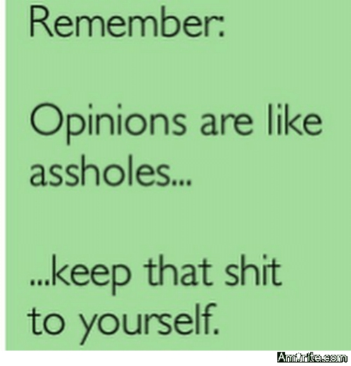 Opinions are like ****. Everybody has one. But some people have two!
