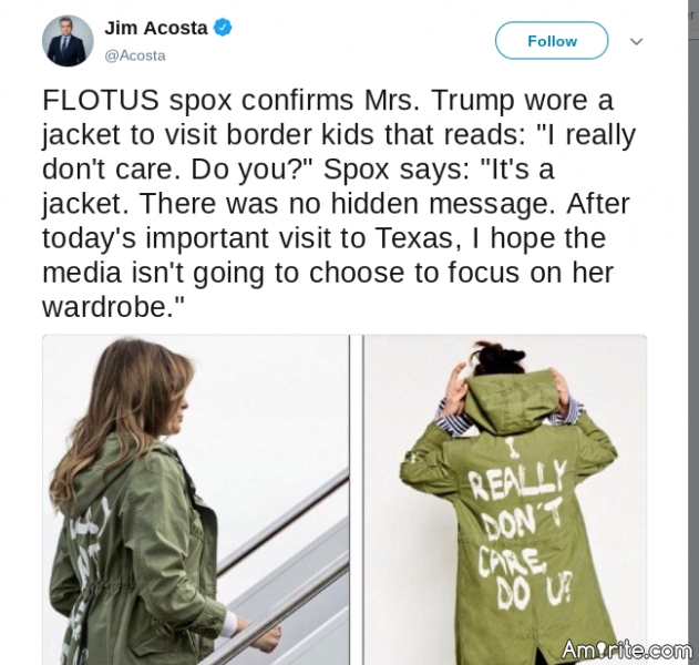 Confirmed by WH spokesperson.  She did wear this jacket to see the kids.  I'll just leave this here and see who wants to defend her wardrobe choice.