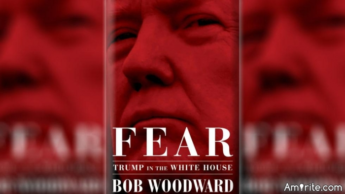 FEAR, the new book by Bob Woodward has the president and the White House in a lot of fear.   It's exposing Trump for what he really is, a bully, a coward and the intellect of a 5th-grader.   But we knew that all along.